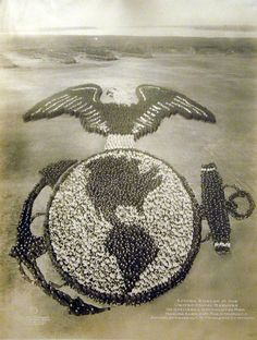 """US Marines Living Emblem"" - Taken during WWII Training at Parris Island, South Carolina (100 Officers and 5000 Enlisted Men)."