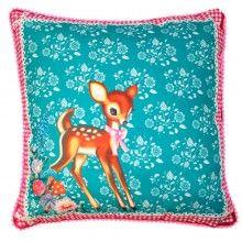 Coussin Bambi par Wu, fabriqué en Angleterre, disponible chez Pep up design