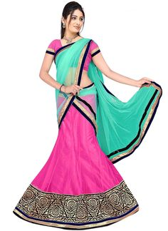 Flawless Hot Pink and Sea Green A Line Lehenga Choli   Wedding Lehenga Choli   Bridal Lehenga Choli    Designer Lehenga Choli   Item Code: 5059