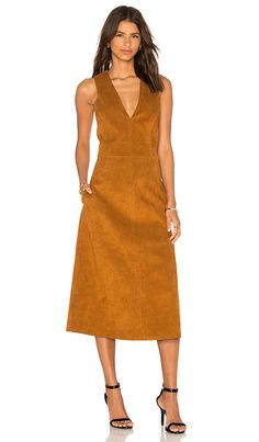 Tibi Deep V Neck Overall Dress in Cinnamon Brown