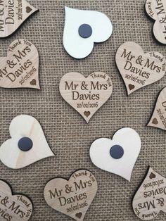 Personalised wedding Favours. Thank you  Fridge Magnets, wood, oak, engraved