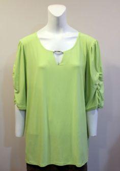 New-Dress-Barn-Green-Stretch-Knit-Top-Shirt-Plus-2X