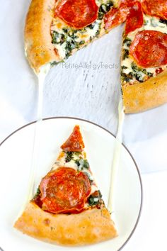 Gluten Free Stuffed Crust Pizza- Delicous GF pizza with a gooey cheese crust. #glutenfree, #eggfree