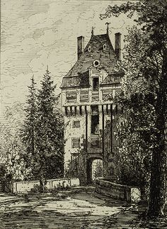 Vintage Sketched Manor House Image! - The Graphics Fairy