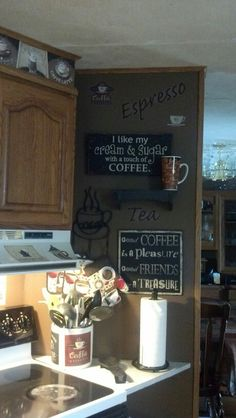 Coffee themed kitchen - I especially love those wall signs. I'm totally making them!