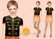 Dress and jacket, embroidered with gold applique*