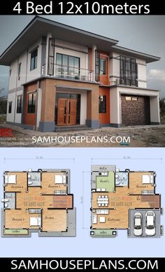House Plans With 4 Bedrooms - Sam House Plans The Plan, How To Plan, 4 Bedroom House Designs, 4 Bedroom House Plans, Simple House Plans, My House Plans, Villa Plan, Model House Plan, Two Storey House