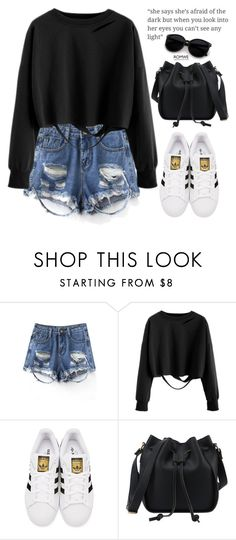 """""""Romwe #4"""" by oliverab ❤ liked on Polyvore featuring adidas Originals, swag, blackandwhite and romwe"""