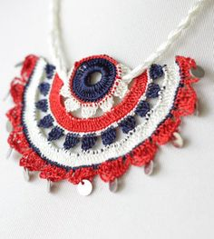 Crochet Necklace with Turkish Crochet oya, navy red cream.