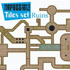 Impossible Tiles Kit: Ruins | Tile-able ruins dungeon set for all possible combinations. This set includes 3 different backgrounds with more overgrown vegetation.  https://marketplace.roll20.net/browse/set/626/impossible-tiles-kit-ruins