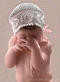 antique filet crocheted bonnet ... ca. 1915-20