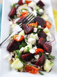 Beets in a salad.