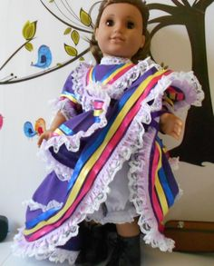Mexican folklorico Jalisco dress fits American Girl and similar dolls handmade in USA Folklorico Dresses, Color Swirl, Victorian Fashion, Bright Pink, Her Hair, American Girl, Dress Up, Mexican, Costumes