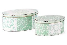 Patterned Green Tin Boxes, Asst. of 2 on OneKingsLane.com