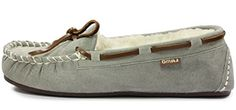 Lamo Women's Britian MC II Moccasin B(M) US, Grey) * Continue to the product at the image link. (This is an affiliate link) Womens Slippers, Leather And Lace, Herringbone, Sperrys, Moccasins, Boat Shoes, Faux Fur, Flats, Grey