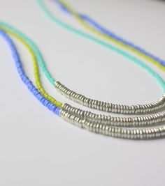 Beaded Necklace, Seed Bead Necklace, Layering Necklaces, Seed Beads, Bohemian Necklace, Beads, Silver Beaded Necklace, Blue Beaded Necklace. $21.00, via Etsy.