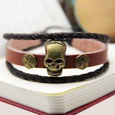 $3.05 (Buy here: http://appdeal.ru/bbm8 ) Punk Style Cross Pattern Skull Shape Design Wrap Faux Leather Bracelet For Men for just $3.05