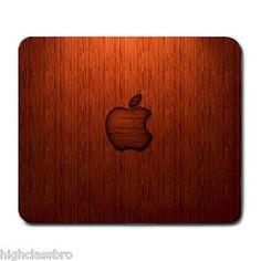 New Wood Grain 3D Apple Logo Rubber Back Anti Slip Pc Laptop Notebook Mousepad