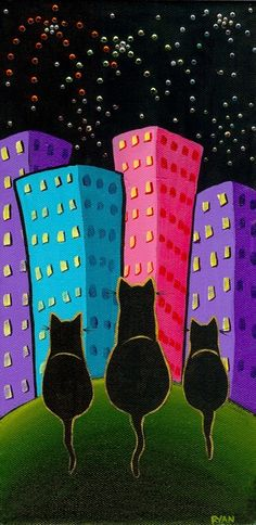 New Year's Eve Cat Folk Art Painting by KilkennycatArt on Etsy
