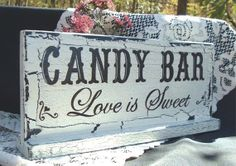 """Love is Sweet"" for a wedding candy bar! Candy Bar Wedding, Wedding Signs, Our Wedding, Dream Wedding, Wedding Bells, Perfect Wedding, Wedding Reception, Party Planning, Wedding Planning"