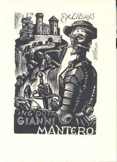 Upitis, Peteris Augustovich; Letonia    EXLIBRIS ING DOTT GIANNI MANTERO, 1966    (Mantero, Gianni; Italia)  Bueno  En la parte trasera del Exlibris marca otra medida, 97x65.