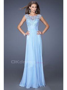 Embellished Tulle Bodice Chiffon Applique Prom Dresses - by OKDress UK