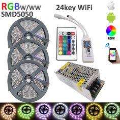 15M RGBW SMD 5050 LED Strip Light  IP20 DC12V 60Leds/M 300LEDs Flexible Light strip RGB White/WW+wifi 24key controlle+10A power