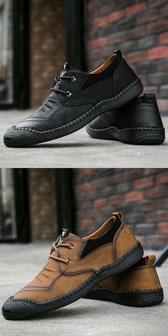 307bbcf84b Prelesty Handmade Vintage Spring Leather Shoes Men Oxfords Soft Lightweight  Formal