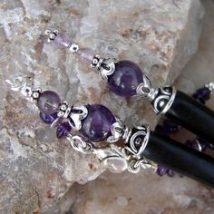 Hair Sticks Pair Amethyst Gemstones and Sterling by Hairjems, $57.00