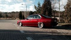 BMW E34 5 series burgundy slammed