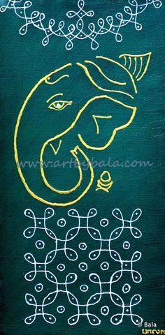 "Ganesh, 2013. 6"" x 12"" Textured henna style acrylic painting on canvas. © Bala Thiagarajan, 2013. www.artbybala.com"