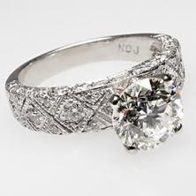 Estate Diamond Engagement Ring Solid Platinum