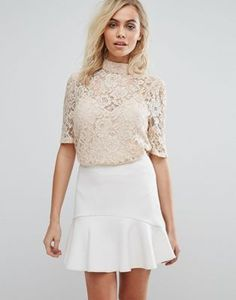 Fashion Union High Neck Top In Lace