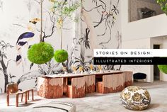 Illustrated Interiors celebrate the sweet-spot where art, interiors and architecture cross over beautifully, where each discipline makes the other stronger. Interior Decorating, Interior Design, Australian Art, Illustration, Display, Art Interiors, Table Decorations, Architecture, Flowers