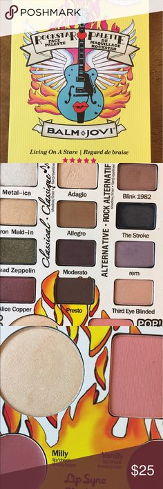 """theBalm """"Balm Jovi"""" Face Palette Authentic theBalm """"Balm Jovi"""" face palette. Twelve matte and satin/shimmer eyeshadows, one highlighter, one blush and two cream lipsticks/blush. Gently used once. The cream products have not been used or swatched. Palette has been discontinued. the balm Makeup Eyeshadow"""