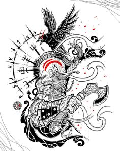 Viking Tattoos For Men, Viking Warrior Tattoos, Cross Tattoo For Men, Hand Tattoos For Guys, Small Girl Tattoos, Viking Tattoo Sleeve, Viking Tattoo Symbol, Rune Tattoo, Viking Tattoo Design