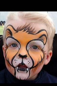 lion face paint little boy