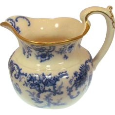 Antique Cauldon Flow Blue Candia Bulbous Pitcher