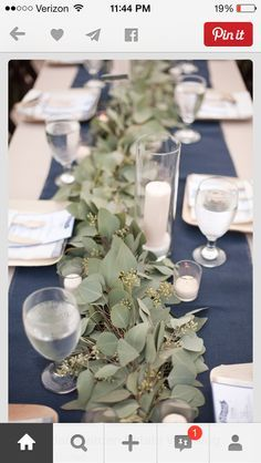 Image result for wedding head table ideas with seeded eucalyptus and candles