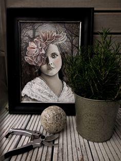 """Marta Julia Piórko, """"Dziewczyna w woalce"""", oil on canvas"""