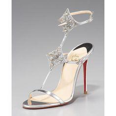 Christian Louboutin Lady Max Spike T-Strap Sandal, Silver