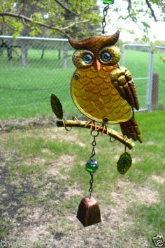 OWL BELL WIND CHIME FUSION GLASS METAL GARDEN DECOR HOOTERS statues YARD OWLS R