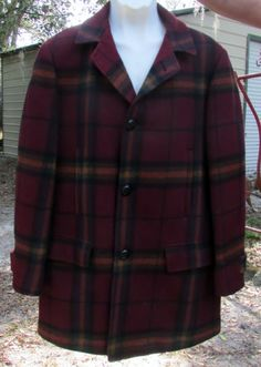 Vintage 1980's Men's Pendleton Wool Pea Coat - 3/4 Length - Classic Plaid - Lined - USA Made - Size Medium to Large