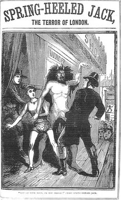 """A depiction of the legendary """"Spring-Heeled Jack"""" from The Illustrated Police News, a weekly illustrated British newspaper founded in 1863 that aggregated sensational and melodramatic reports and illustrations of murders in the UK and around the world."""