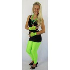 Fluro Green Leggings Tights Pants For 80s & 90s Retro Neon Dance Party Australian Olympics Costume