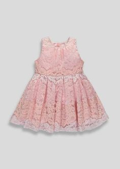 Girls pink lace dress with subtle pink stripes. The dress is fully lined and has a zip up the back. Dress Skirt, Lace Dress, Matalan, Pink Stripes, Playsuits, Pink Lace, Pink Girl, Zip Ups, Kids Outfits