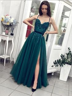 A Line Spaghetti Straps Formal Party Dress, Beaded Lace Teal Green Prom Dresses, Sexy Leg Slit Evening Gowns by fancygirldress, $130.50 USD