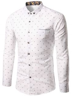 205e843b4a Small Polka Dot Printed Long Sleeve Shirt - WHITE 4XL Mens Fashion