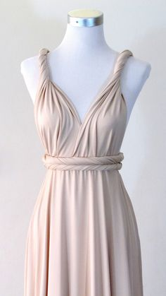 Summer maxi dress Convertible Dress in Champagne by HerBridalParty, $55.00