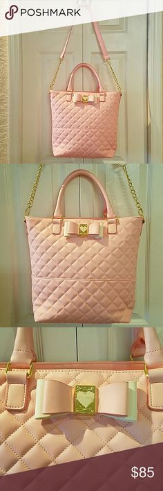 Be My Honey Sugar Blush Betsey Johnson tote purse Offered is a delightfully feminine sweet sugar pink Betsey Johnson tote purse. Style name is Be My Honey,  in Blush. Gold hardware on bag. Removable shoulder strap. Perfect double decker bow. New with tags and in immaculate condition. Betsey Johnson Bags Totes